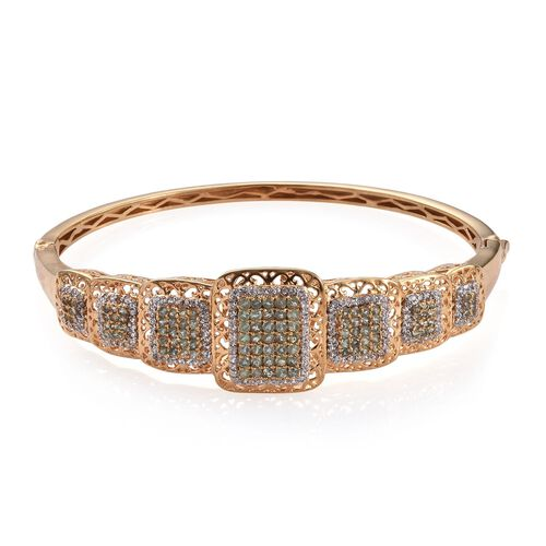 Natural Colour Change Alexandrite (Rnd), Natural Cambodian Zircon Bangle (Size 7.75) in 14K Gold Ove