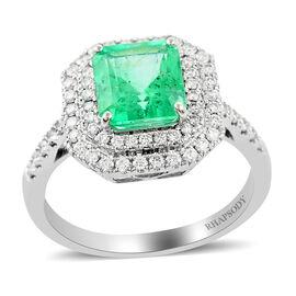 RHAPSODY 950 Platinum AAAA Boyaca Colombian Emerald and Diamond (VS/E-F) Halo Ring 2.25 Ct, Platinum