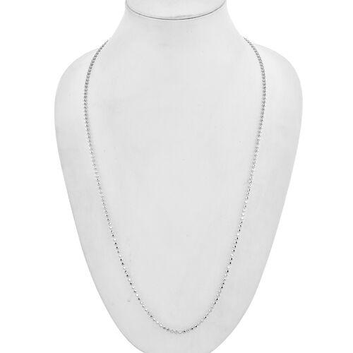 Royal Bali Collection - 9K White Gold Diamond Cut Ball Chain (Size 18), Gold wt 8.30 Gms