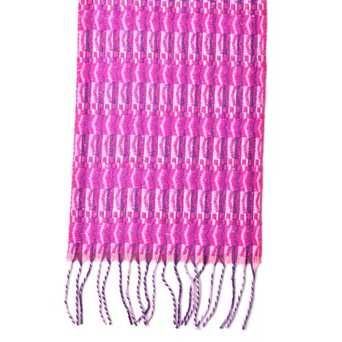 100% Wool Pink and Purple Colour Zigzag Pattern Scarf with Tassels (Size 170X25 Cm)