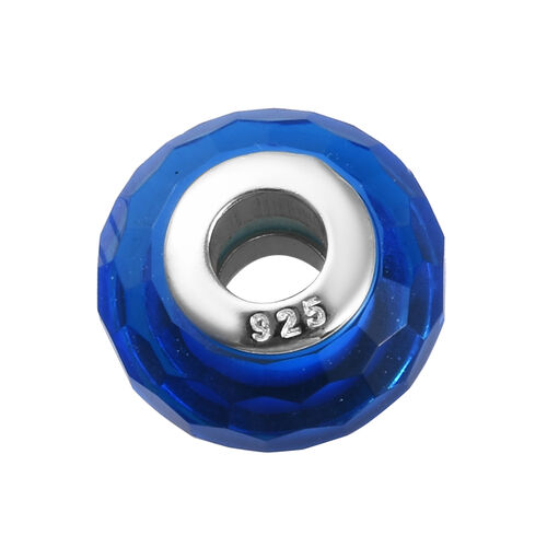 Charmes De Memoire Blue Murano Style Glass Beads Charm in Platinum Overlay Sterling Silver