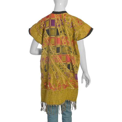 Hand Embroidered Adda Work - Floral Pattern Mustard and Multi Colour Geometry Jacket (One Size)