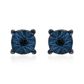 Blue Diamond (Rnd) Stud Earrings (with Push Back) in Platinum and Blue Overlay Sterling Silver
