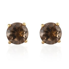 Smoky Quartz 2 Stone Push Post Earring in 14K Gold Overlay Sterling Silver 1.33 ct  1.330  Ct.