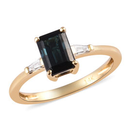 14K Yellow Gold Monte Belo Indicolite and Diamond Ring 1.10 Ct.