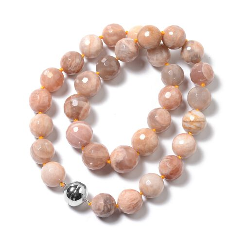 Srilankan Peach Moonstone (Rnd 13-17 mm) Necklace (Size 20) in Rhodium Overlay Sterling Silver with Magnetic Lock 639.50 Ct.