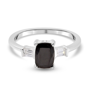 Elite Shungite and Natural Cambodian Zircon Ring in Sterling Silver 0.77 Ct.