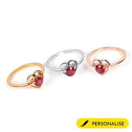 Personalised Classic Ruby Heart Shape Ring