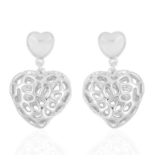 WEBEX- Rachel Galley Rhodium Plated Sterling Silver Amore Heart Lattice Dangle Earrings, Silver wt 6.79 Gms.