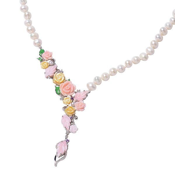 Jardin Collection - Freshwater Pearl, Pink and Yellow Mother of Pearl, Natural White Cambodian Zircon and Amethyst Enameled Necklace (Size 18) in Rhodium Overlay Sterling Silver, Silver wt 8.00 Gms.