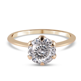 9K Yellow Gold Moissanite ( 100 facets) Solitaire Ring 1.89 Ct