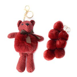 2 Piece Set - Golden Key Chain with Soft Teddy Bear and 7 Balls - Red Colour