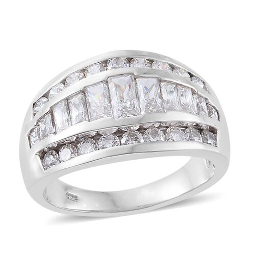 J Francis - Platinum Overlay Sterling Silver (Bgt) Ring Made with SWAROVSKI ZIRCONIA, Silver wt 5.70