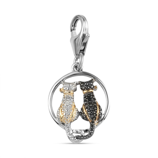 Black and White Diamond (Rnd) Twin Cat Charm in Platinum Overlay Sterling Silver with Black and Yell