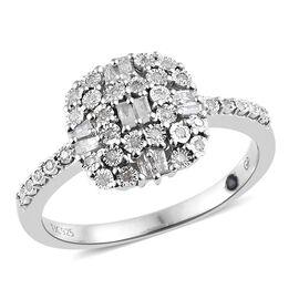 GP Diamond (Rnd and Bgt), Kanchanaburi Blue Sapphire Ring in Platinum Overlay Sterling Silver 0.330
