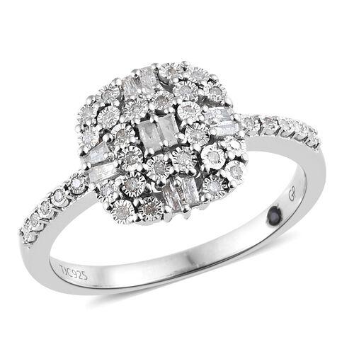 GP Diamond (Rnd and Bgt), Kanchanaburi Blue Sapphire Ring in Platinum Overlay Sterling Silver 0.330 Ct.