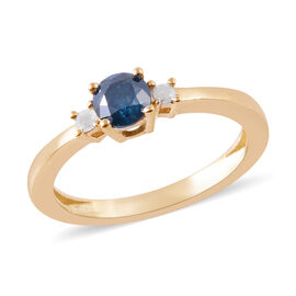 9K Yellow Gold SGL Certified White and Treated Blue Diamond (Rnd) (G-H/I3) Ring 0.50 Ct.