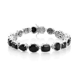 37.5 Ct Black Spinel Tennis Bracelet in Platinum Plated Sterling Silver 16.4 Grams