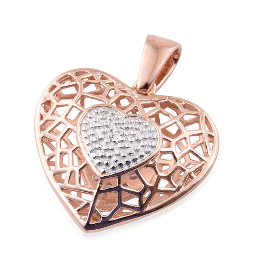 J Francis - Rose Gold Overlay Sterling Silver Heart Pendant Made with SWAROVSKI ZIRCONIA