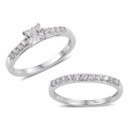 Set of 2 - J Francis - Platinum Overlay Sterling Silver (Sqr) Ring Made with SWAROVSKI ZIRCONIA