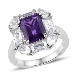 4.68 Ct Amethyst and White Topaz Halo Ring in Platinum Plated Sterling Silver