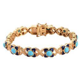 AA Arizona Sleeping Beauty Turquoise Enamelled Bracelet (Size 7) in 14K Gold Overlay Sterling Silver