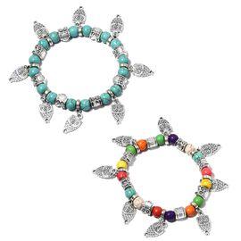 Mega Day Cracker Deal- Set of 2- Blue Howlite (Rnd), Multi Color Howlite Beads Bracelet with Owl Charm 160.000  Ct.