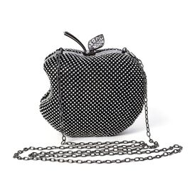 Apple Clutch Bag with Detachable Shoulder Chain Strap and Toggle Clip Closure (Size 14x11.5) - Black