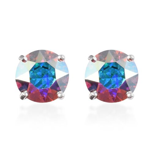 J Francis Crystal from Swarovski AB Crystal Solitaire Stud Earrings (with Push Back) in Sterling Sil