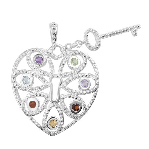 Designer Inspired-Multi GemStone (Rnd) Love Lock Pendant  in Rhodium Plated Sterling Silver. Silver wt 4.50 Gms.