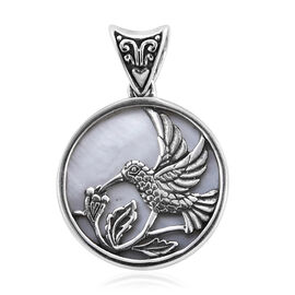 Royal Bali Collection Mother of Pearl Humming Bird Pendant in Sterling Silver