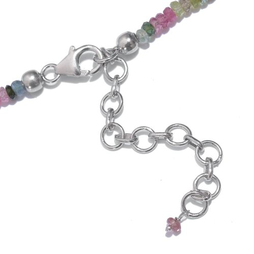 Tuscon Collection-Rainbow Tourmaline (Rnd) Beads Necklace (Size 18 with 2 inch Extender) in Sterling Silver 45.050 Ct.