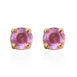 Pink Sapphire (Rnd) Stud Earrings (with Push Back) in 14K Gold Overlay Sterling Silver 0.500 Ct.