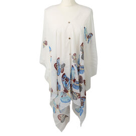 Poncho Style Summer Beach Covering in White and Multi (One Size; Length 76 cm)