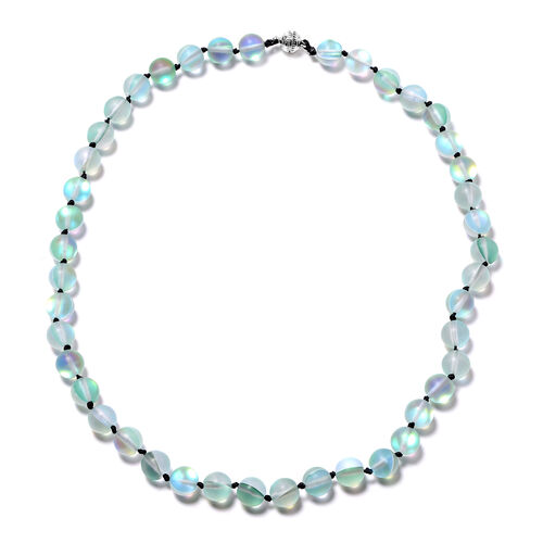 One Time Deal- Green Mystic Glass (Rnd 9-11mm) Beads Necklace (Size 20) with Magnetic Lock
