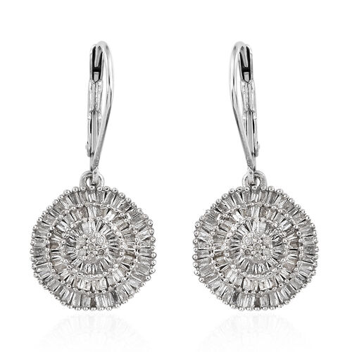 Diamond (Bgt) Lever Back Earrings in Platinum Overlay Sterling Silver 1.035 Ct, Number of Diamonds 242