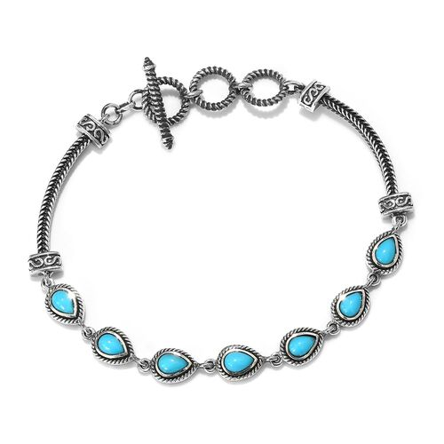 Arizona Sleeping Beauty Turquoise (Pear) Adjustable Bracelet (Size 8 with Extender) in Sterling Silv