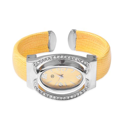 STRADA Japanese Movement White Austrian Crystal Studded Water Resistance Cuff Bangle Watch (Size 6.5-7) with Yellow Strap in Stainless Steel