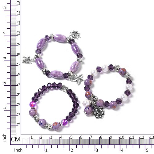 Set of 3 Amethyst Colour Beads Bracelet (Size 6.50) with Multi Charm