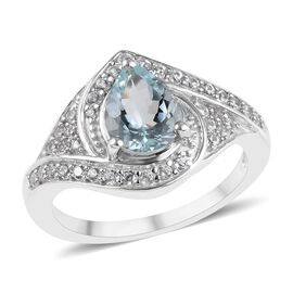 2.86 Ct Espirito Santo Aquamarine and Zircon Halo Ring in Platinum Plated Sterling Silver