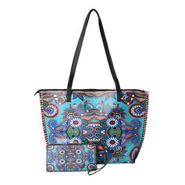 2 Piece Set - Totem Pattern Tote Bag (45x9x33cm) and Clutch Bag (20x10cm) - Multi Colour
