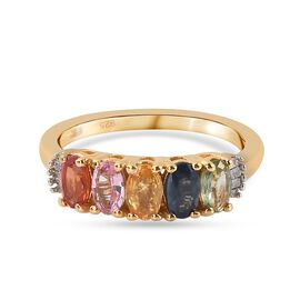 Multi gemstones 5 Stone Ring in 14K Gold Overlay Sterling Silver 1.15 ct  1.150  Ct.