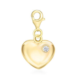 Simulated Diamond Heart Charm in Yellow Gold Overlay Sterling Silver.