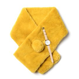 2 Piece Set- Japanese Movement STRADA Watch & Faux Fur Yellow Scarf