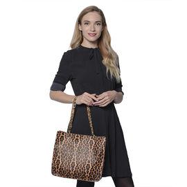 Brown Leopard Pattern Tote Bag (Size 32x11x28cm)
