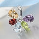 Sky Blue Topaz, Natural Hebei Peridot and Multi Gemstone Floral Pendant in Sterling Silver 2.34 Ct.