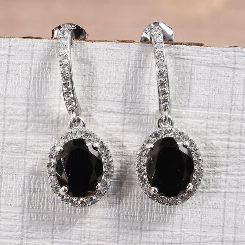 Elite Shungite (Ovl 10x8 mm), Natural Cambodian Zircon Earrings (with Push Back) in Platinum Overlay Sterling Silver 5.90 Ct.