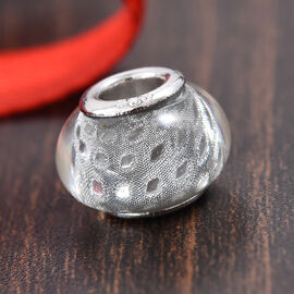 Charmes De Memoire Silver Grey Murano Style Glass Bead Charm in Platinum Plated Sterling Silver