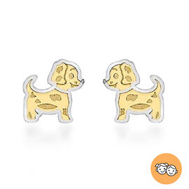 Children Doggy Stud Earrings in 9K Yellow and White Gold