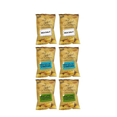 Just Crisps Variety Traditional 6x150g (2 x Sea Salt, 2 x Sea Salt and Apple Balsamic Vinegar, 2 x M